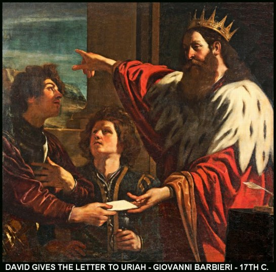 DAVID GIVES THE LETTER TO URIAH-GRENICO-17TH CEN-11X11