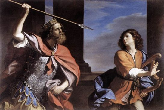 Saul Attacking David by Guercino in Galleria Nazionale d'Arte Antica, Rome, Italy
